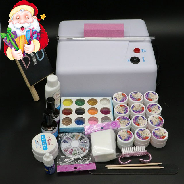 BTT-123 free shipping Pro Full 36W White Cure Lamp Dryer & 12 Color UV Gel Nail Art Tools Sets Kits em 123 free shipping pro full 36w white cure lamp dryer