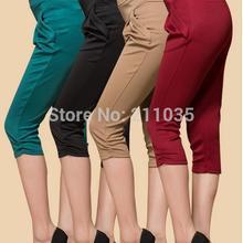 Hot Sale Women's Plus Size Cotton Summer Candycolored Casual Short Harem Pants W