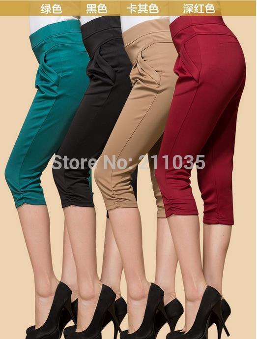 Hot Sale Women's Plus Size Cotton Summer Candycolored Casual Short Harem Pants Waist Capris Loose Elastic Waist Patchwork Pants