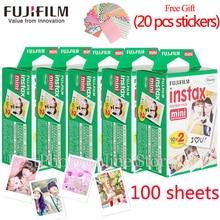100 arkusze Fuji Fujifilm instax mini 8 9 film biały Krawędzi filmy dla natychmiastowa mini 8 7 s 25 50 s 9 90 Kamery Papier fotograficzny Free gift
