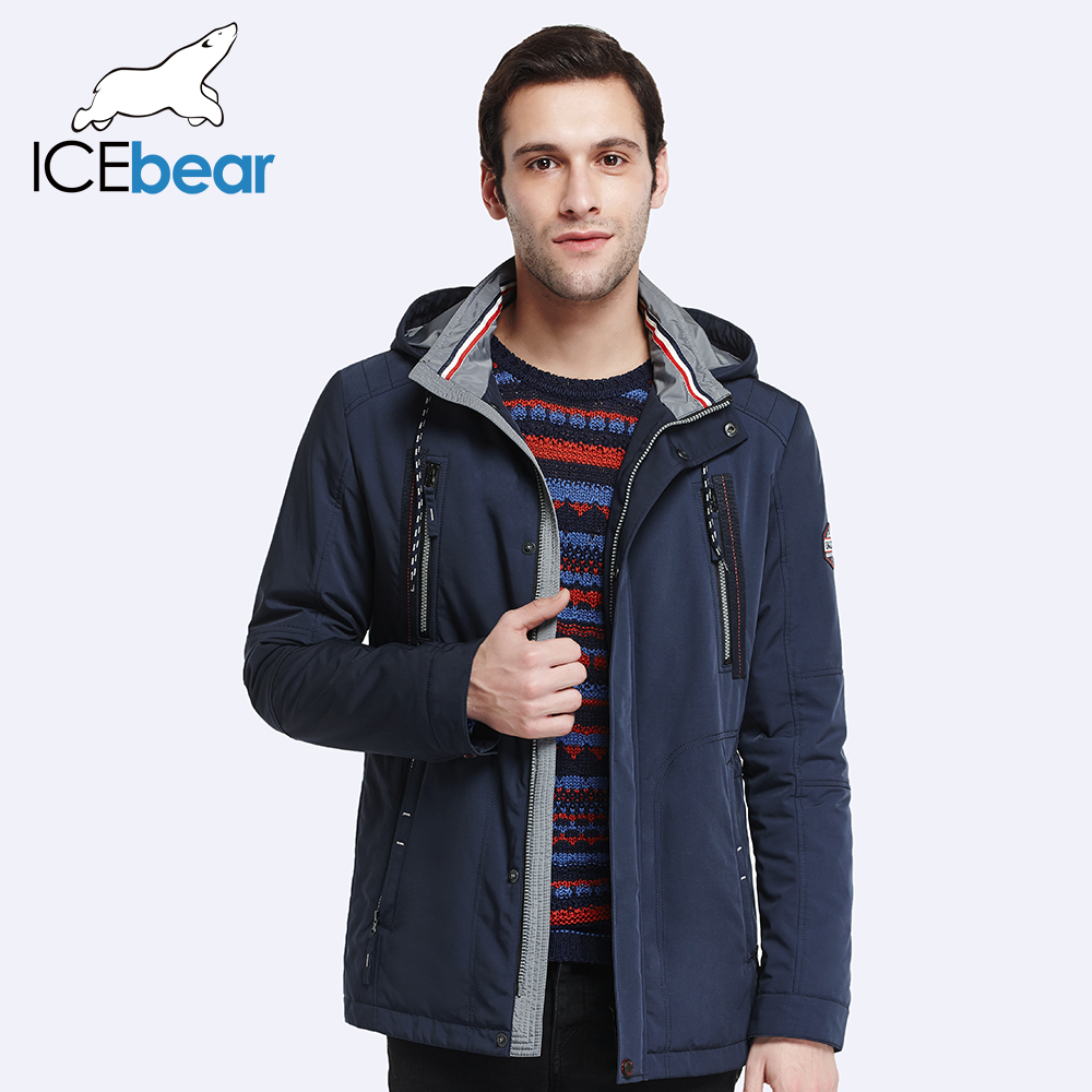 ICEbear 2017 Autumn Spring  Adjustable Waist New Arrival Jacket Coat Men's Warm Trench Coat Turn Down Collar Warm Parka 17MC020D