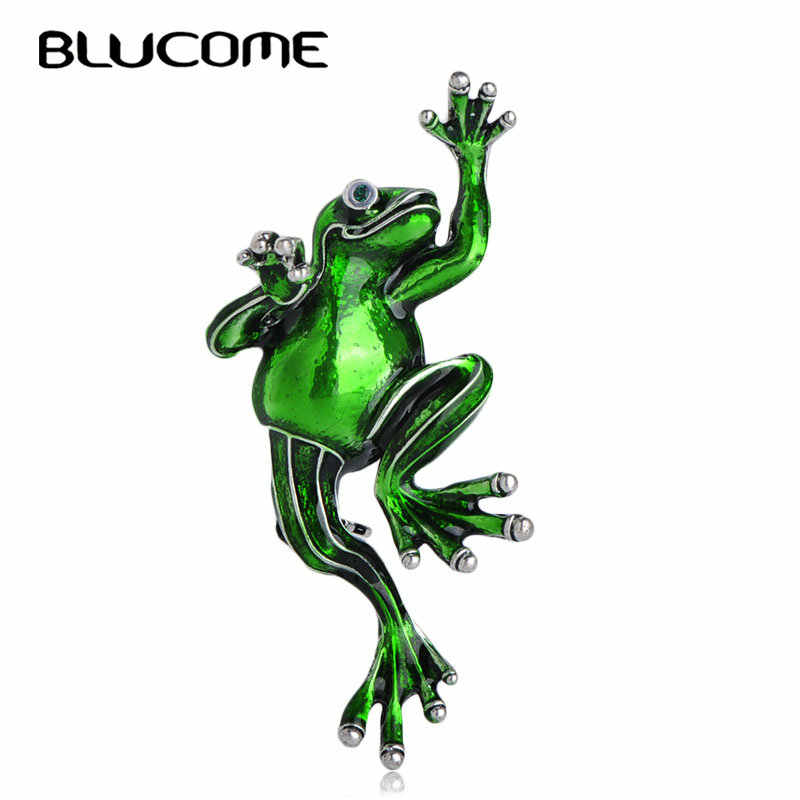 Blucome Fashion Green Frog Shape Brooch Alloy Enamel Animal Jewelry Pins Bag Hat Scarf Buckles Unisex Women Men Kids Accessories