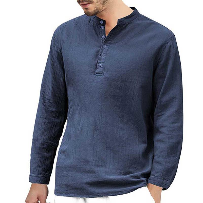 VISADA JAUNA 新メンズ綿とリネントレンド無地カジュアル襟ルーズシャツ長袖シャツサイズ s-2XL TLH59