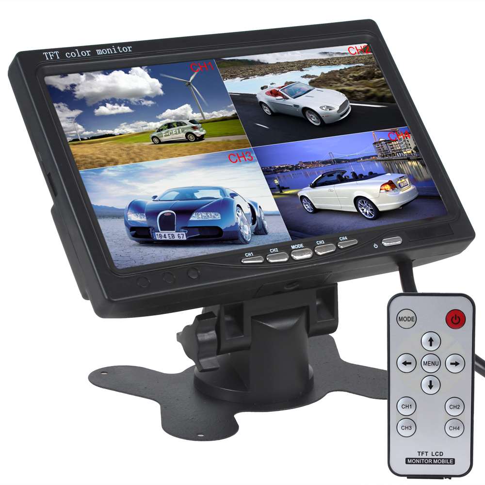 7 Inch TFT LCD Car Monitor Headrest Display Support 4 Split 4Ch Video Input For Rear View Camera DVD GPS With Remote Control