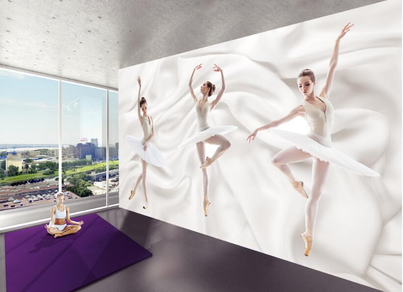 beibehang 3D stylish stereoscopic silk fabric papel de parede 3d wallpaper modern brief ballet dance room murals background