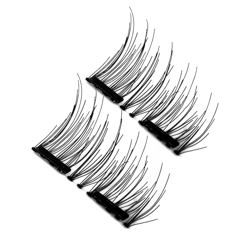 New Arrival 4 CPSDouble Magnetic Eyelashes No Glue Reusable 3D Handmade False Eyelashes Ultra Thin Lightweight FM88