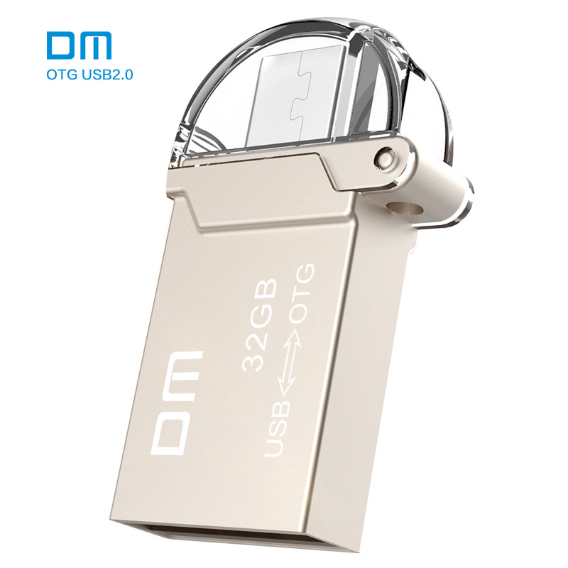 Free shipping DM PD008 8G 16G 32GB USB2.0 with double connector used for OTG smart phone and computer waterproof metal material