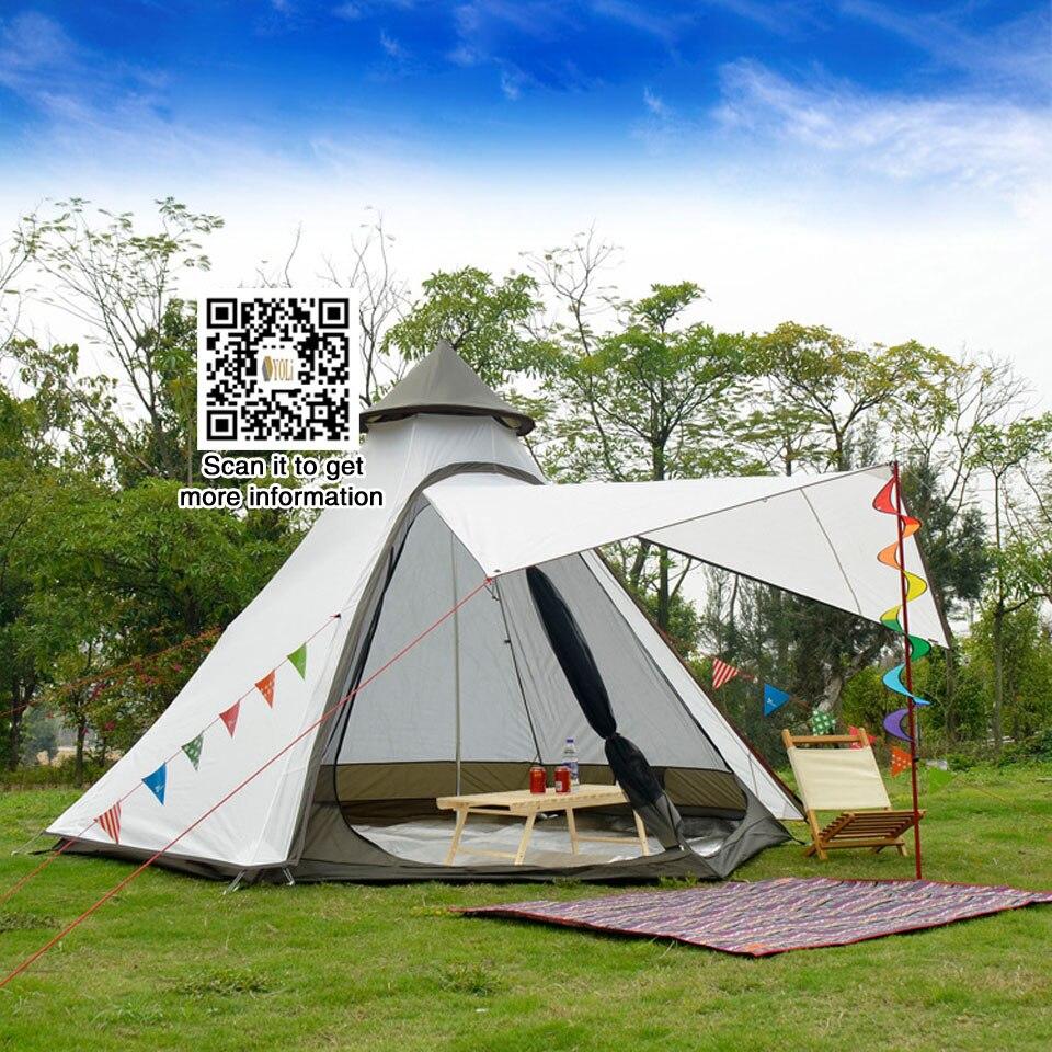 Magasin d'équipement extérieur 3-4 personnes utilisent Ulterlarge ultra-léger en aluminium poteaux étanche tente de tipi grand Gazebo abri solaire