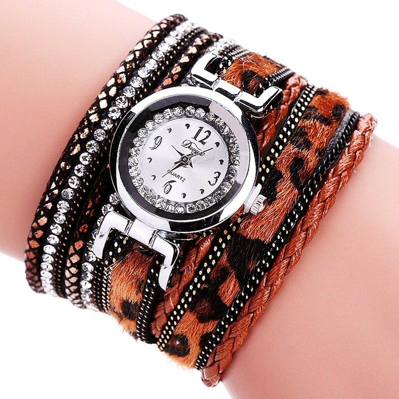 Duoya 2016 New Fashion Casual Quartz Women Rhinestone Watch Leopard Weaving Braided Leather Bracelet Watch Gift DY064