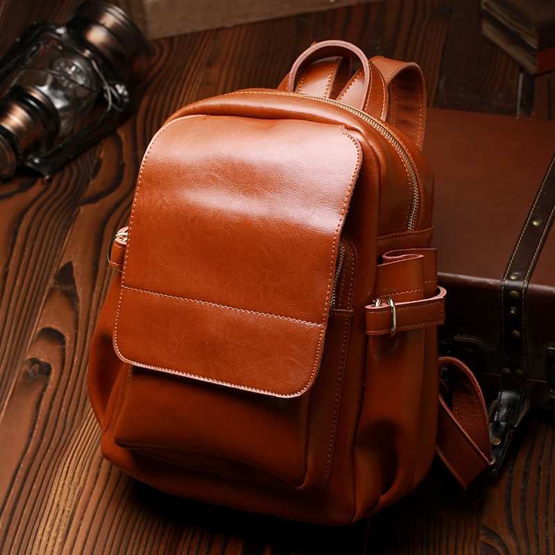 Luxury Brand Design Oil Wax Cow Leather Women Backpack Genuine Leather Women Bag Preppy Style School Bag Casual Travel Bags 纽约史