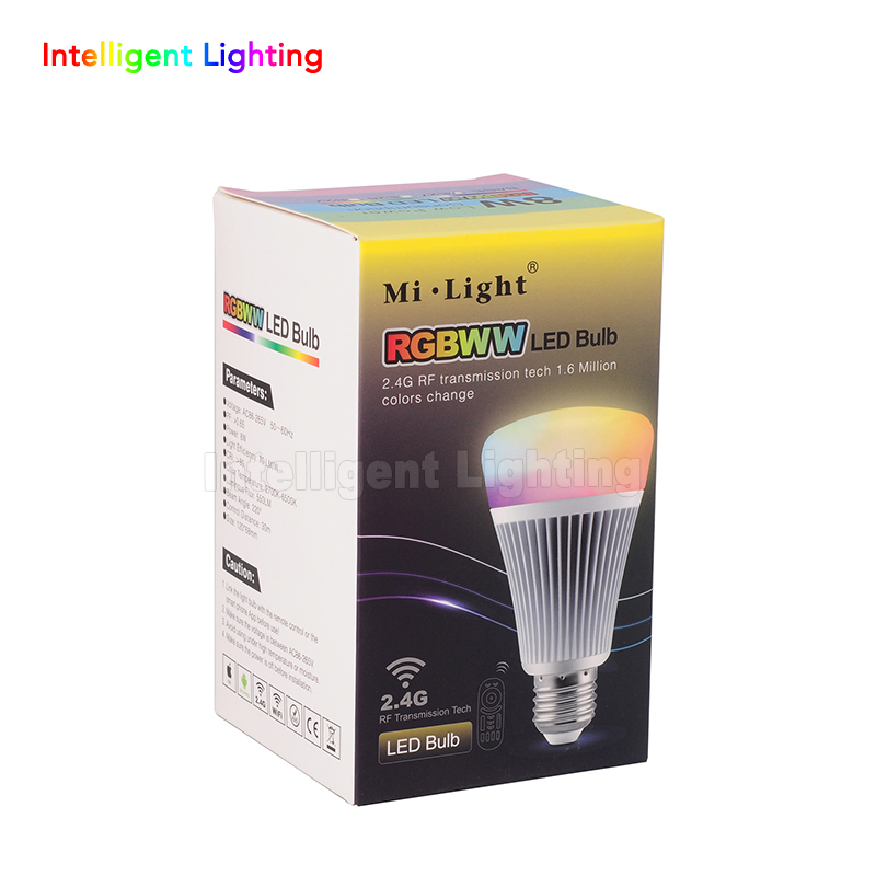 1X RF Remote + 2.4G Mi Light 1x 8w/2x 8w/3x 8w/4x 8w E27 RGBWW (RGB+Warm White/White) LED Bulb,Color Temperature Dimmable 2 in 1