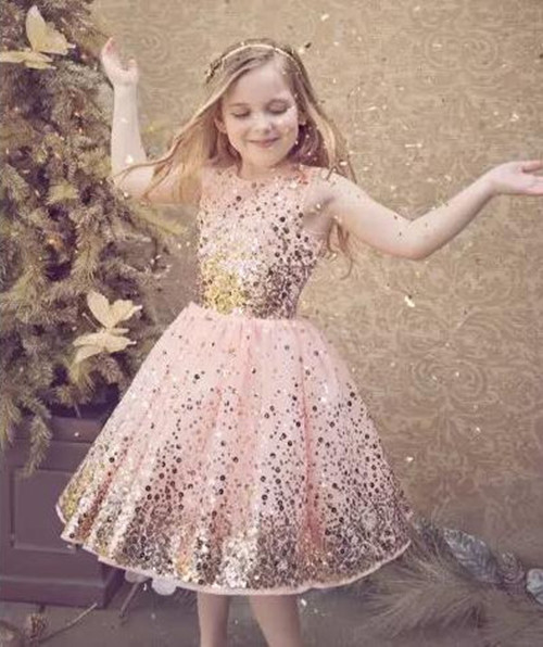 Bling Bling Sequined Flower Girls Dresses 2018 A-Line Crew Neckline Tulle Sequins Little Girl Pageant Gown Any Size 2018 pink sequined glitter tulle