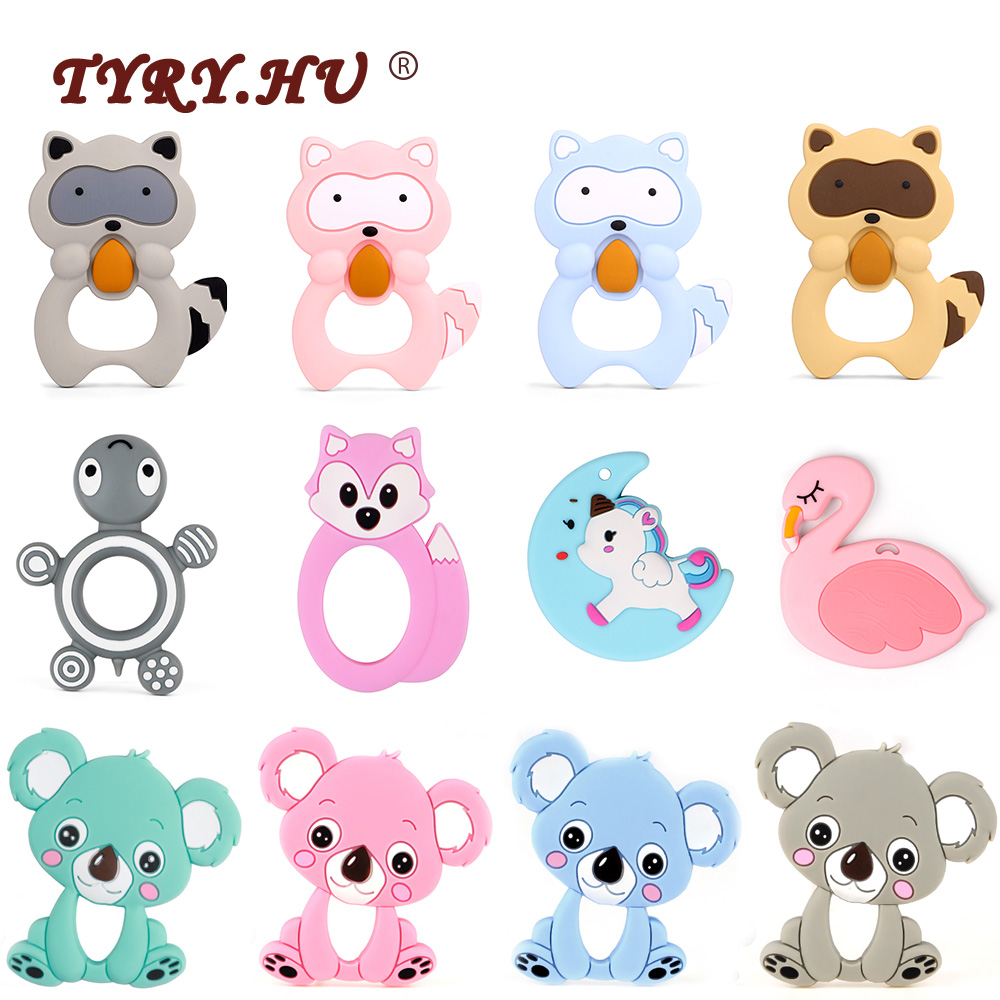TYRY.HU Silicone Teether Mordedor Silicona 1PC Baby Teething Necklace Pendant DIY Pacifier Chain Silicone Beads Toy