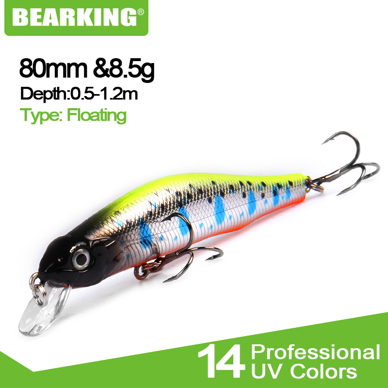 Bearking 8cm/8.5g magnet system quality fishing lure,assorted color minnow crank 2017 hot model crank bait excellent paint(China)