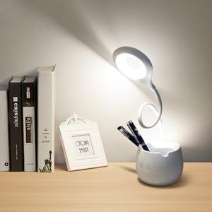 Image 2 - 調光可能なタッチセンサー LED テーブルランプ USB 充電式デスクランプ読書ブックライトのための寝室の装飾の夜の光