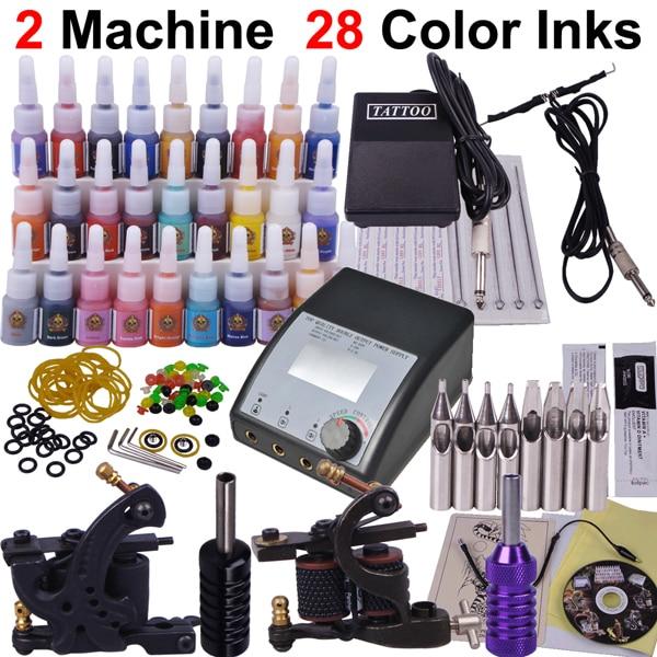 professional piercing set 2 guns make up permanent tatoo machine kit complete tattoo machine set