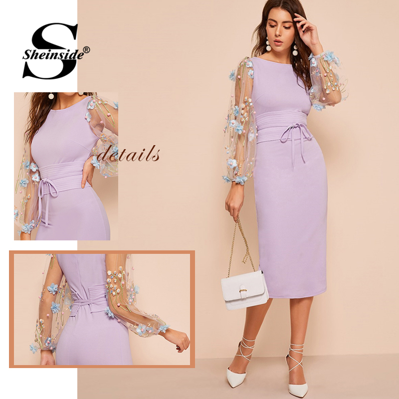 Image 5 - Sheinside Elegant Embroidered Applique Mesh Sleeve Dress Women  2020 Spring Lantern Sleeve Bodycon Dresses Ladies Belted DressDresses