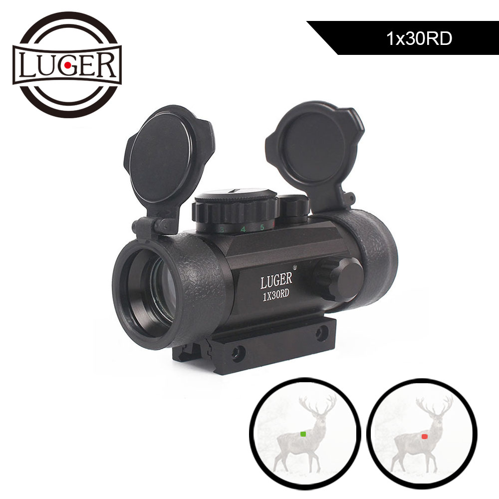 LUGER Tactical 1X30 Red Green Dot Riflescope Holographic Optics Sight Hunting Scope 11mm 20mm Dovetail Rail For Rifle Air Gun-in Riflescopes from Sports & Entertainment