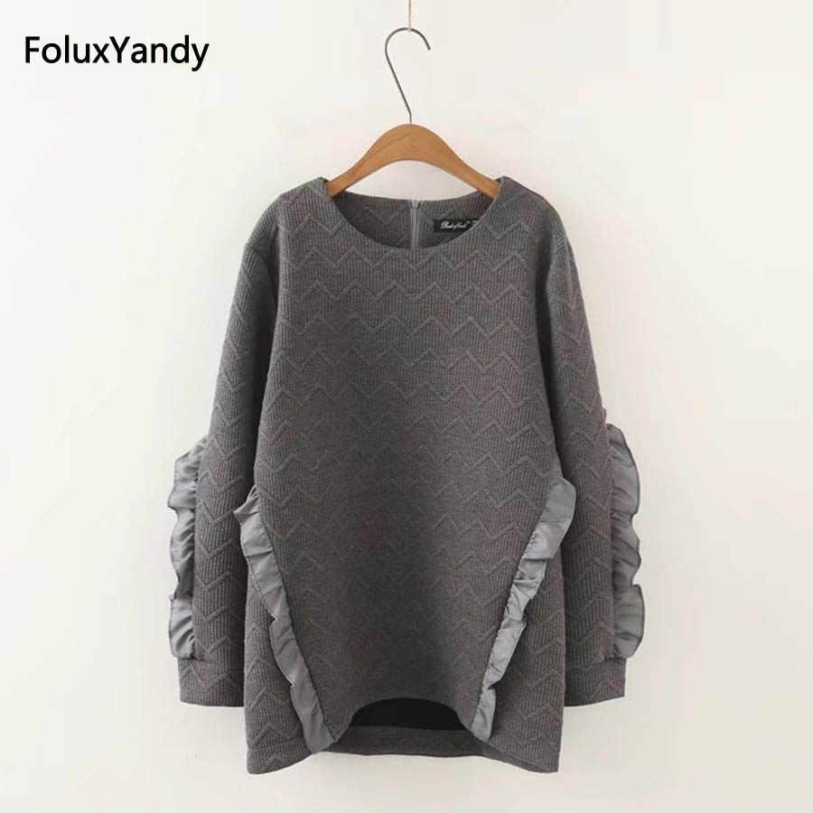 43c4d8ad20b0f Ruffles Sweatshirts Women Plus Size 3 4 XL Casual Loose Long Sleeve Hoodie  Pullovers White Gray