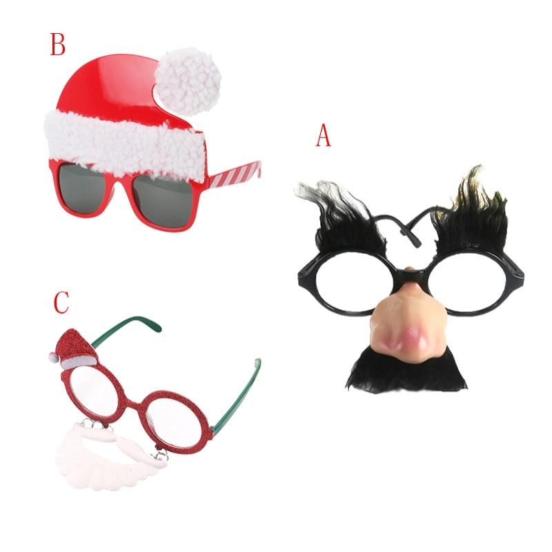 Fake Nose Eyebrow Clown Glasses Santa Claus Beard Glasses Creative Party Beard Glasses Christmas Hat Funny Glasses