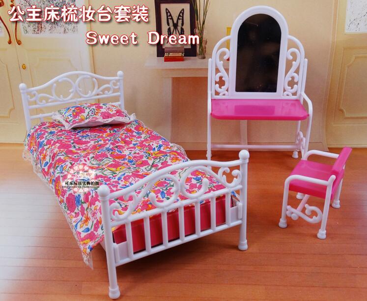 Original For Princess Bed Barbie Bedroom Furniture 1/6 Bjd Doll Accessories Dresser Dress Up Set Toy Gift