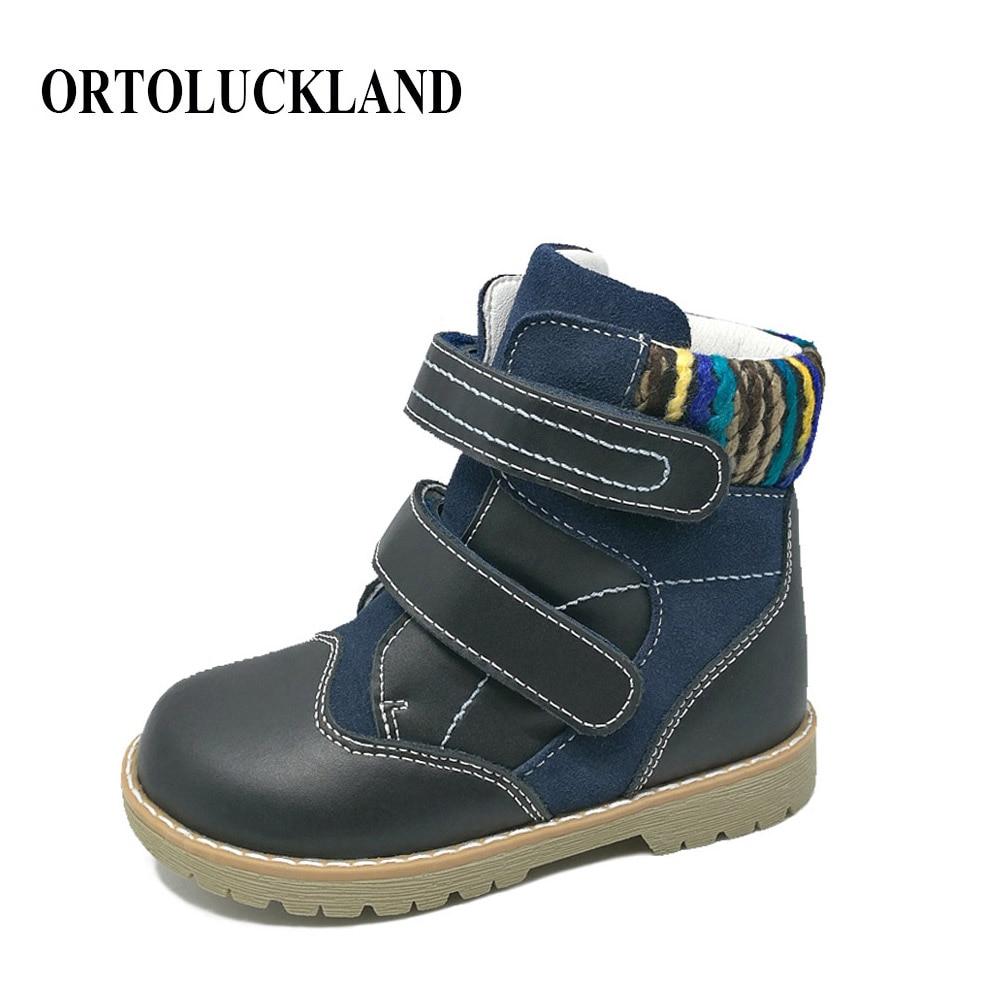 Europeiska senaste stilen barn äkta läderskor ortopediska skor pojkar martin stövlar varma vinterskor barn stövlar
