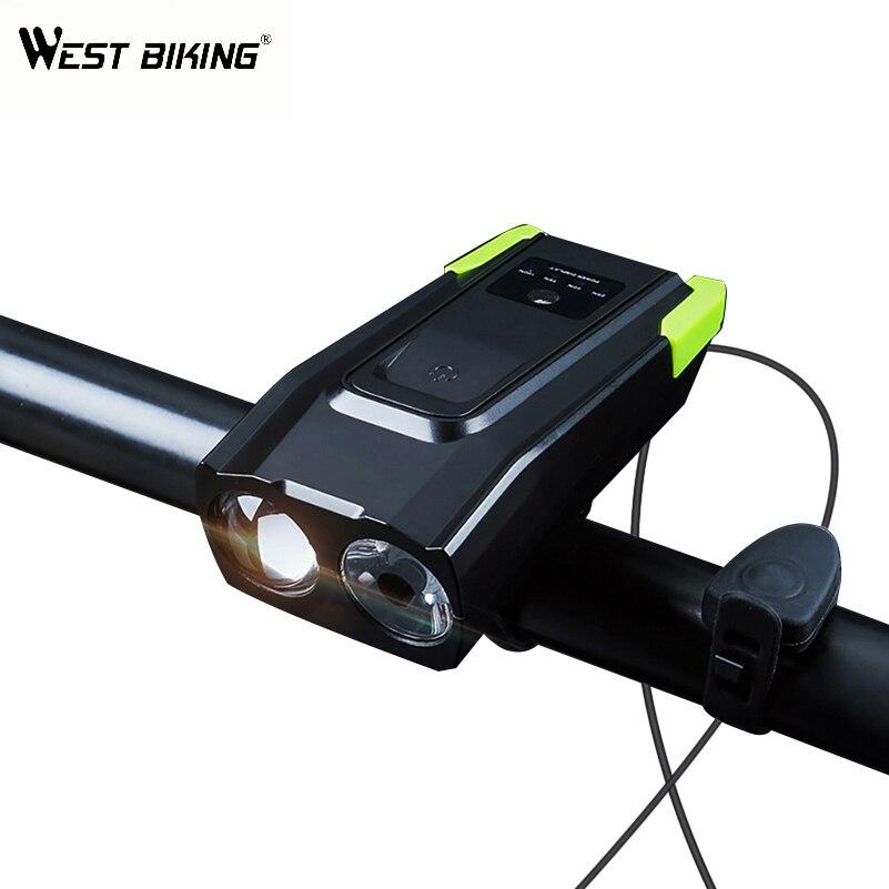 WEST BIKING, двойная лампа, велосипедные фары T6, светильник с бусинами, 4000 мА/ч, зарядка через usb, велосипедная передняя лампа с 120дБ, сигнальный зво