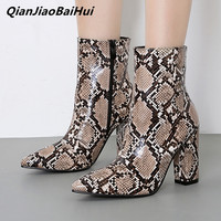 97d769e5 QianJiaoBaiHui Europe America Python Skin Women Ankle Boots Pointed Square  Heels Zipper Female Booties Ladies Office