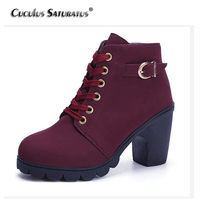 Cuculus New Spring Winter Women Boots High Quality Solid Lace Up European Ladies Shoes PU Fashion