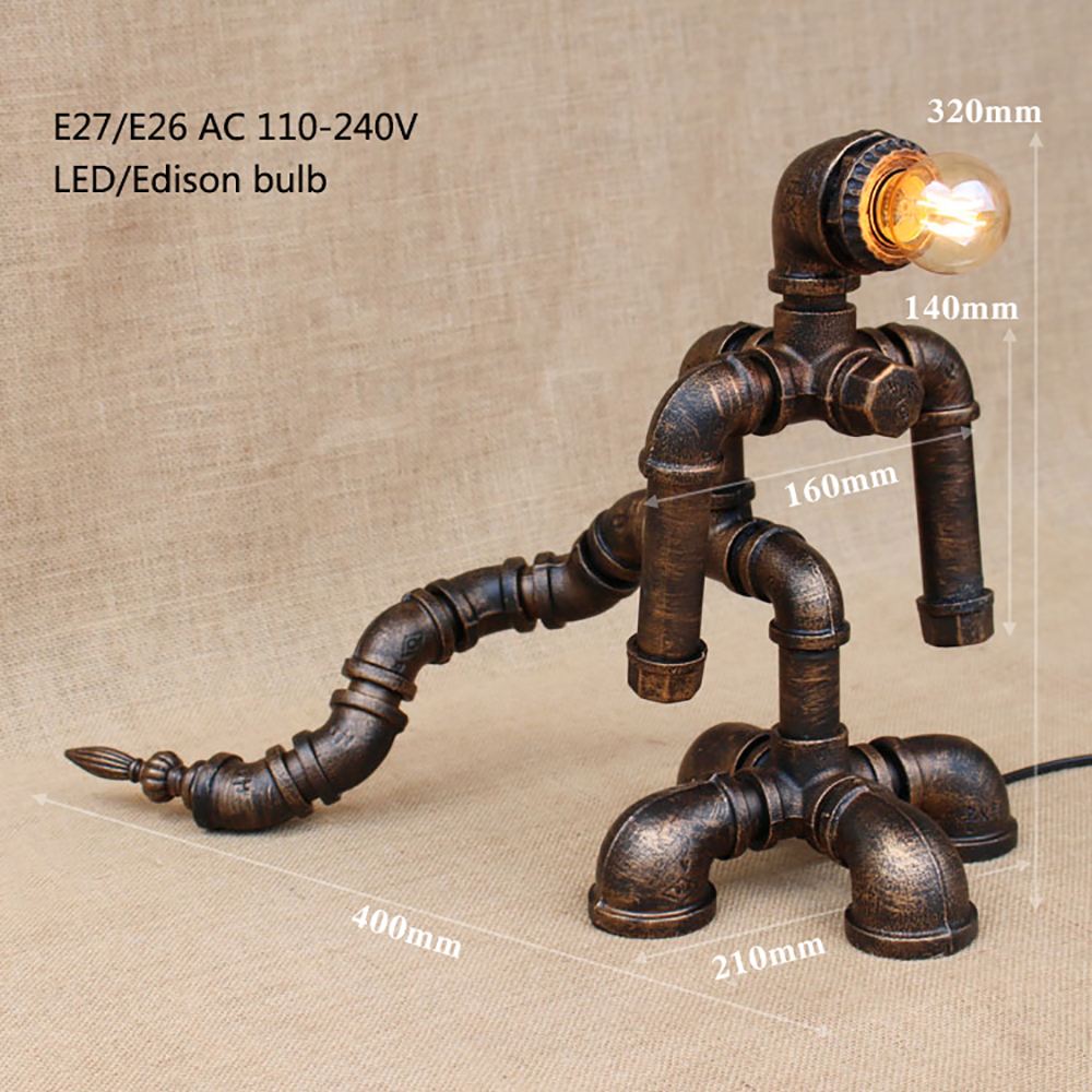Modern black workroom art deco robot table lamp e27 Shine desk light sconce for study bedroom bedside workshop office ...