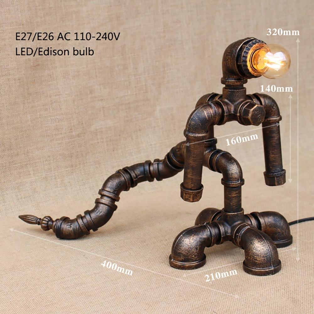 Modern black workroom art deco robot table lamp e27 Shine desk light sconce for study be ...
