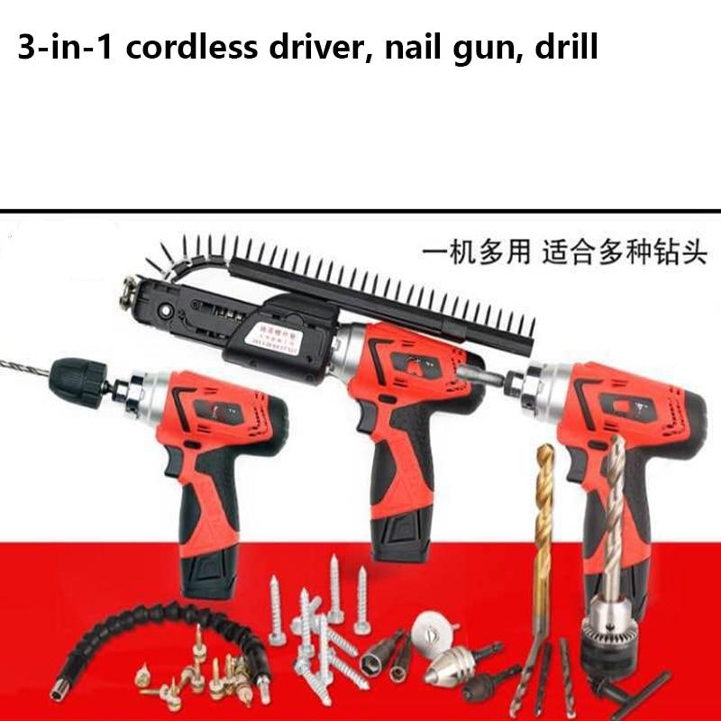 nail gun перевод - 2017 NEW ARRIAVAL 12V cordless nail gun  3 in 1 function cordless drill cordless nail gun cordless driver 2 battery