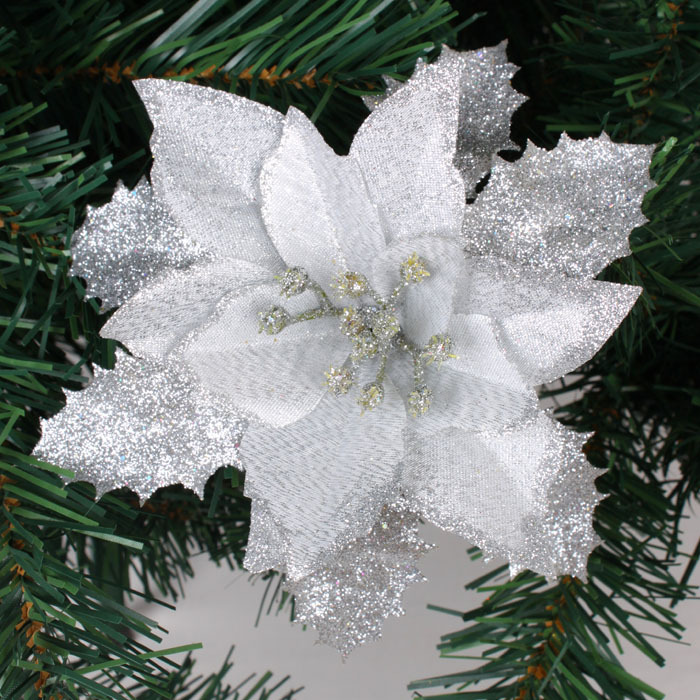 wholesale 10pcslot 17cm gold glitter artificial christmas flowers poinsettia cheap christmas ornaments in christmas from home garden on aliexpresscom - Where To Buy Cheap Christmas Decorations