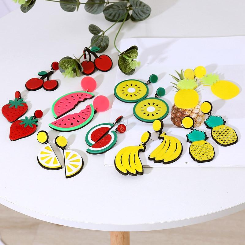 Вишня в виде симпатичного ананаса, лимон, фотоэлемент для женщин, модные полимерные акриловые висячие серьги в Корейском стиле, женские бол...