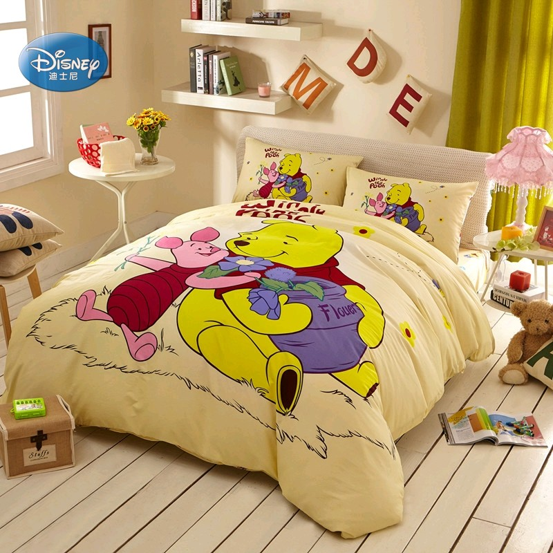 Discounts Disney Yellow Winnie 3D Print Cotton Bedding Set for Girls Boys Birthday Gift Duvet Cover