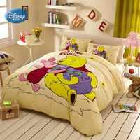 Discounts! Disney Yellow Winnie 3D Print Cotton Bedding Set for Kids Girls Boys Birthday Gift Duvet Cover Flatsheet Pillowcases