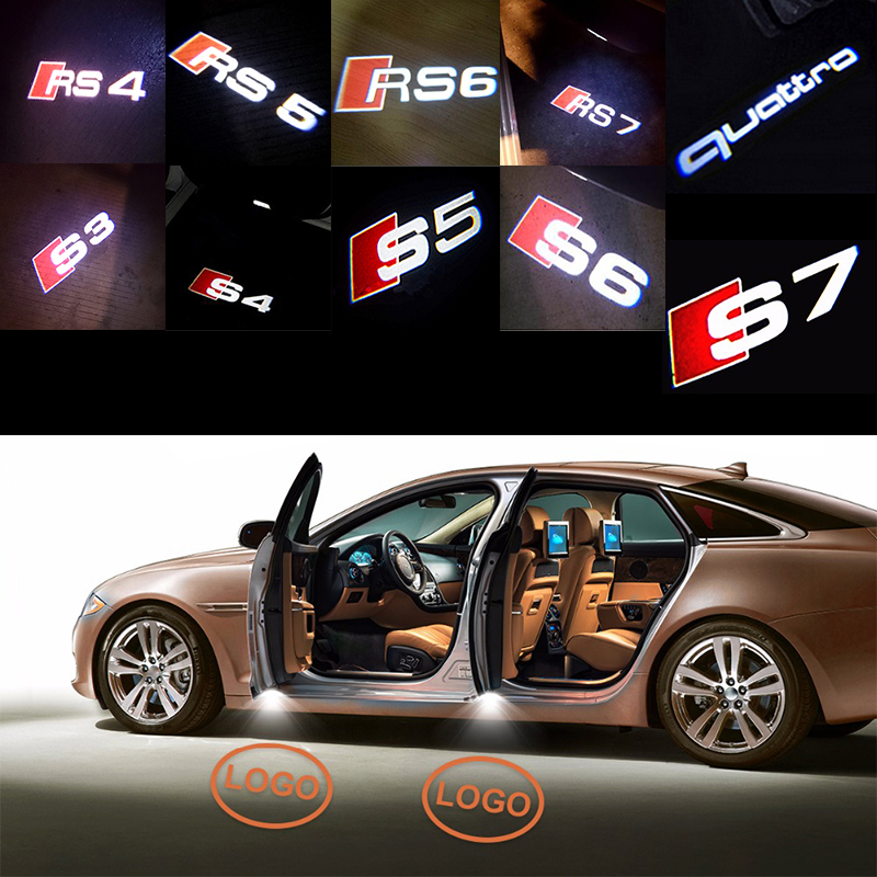 2x Car LED Welcome Door Warning Light Projector Sticker For