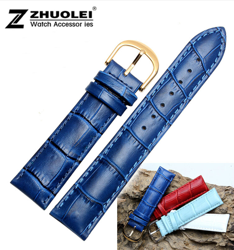 12mm 14mm 16mm 18mm 20mm New High Quality Women Men Blue Genuine Leather Watch Band Strap Gold Polished Steel Deployment Clasp недорго, оригинальная цена