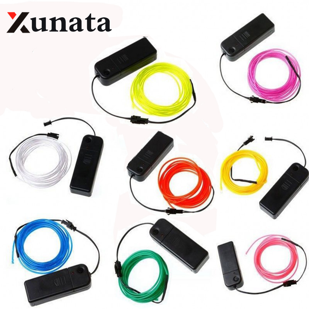 EL Wire 5V USB 3V Battery 12V Powered Flexible led Light strip Tube waterproof Car Party Clothing Wedding el wire + converter 3m 2 3mm el wire 3v aaa sound activated battery inverter mix order available