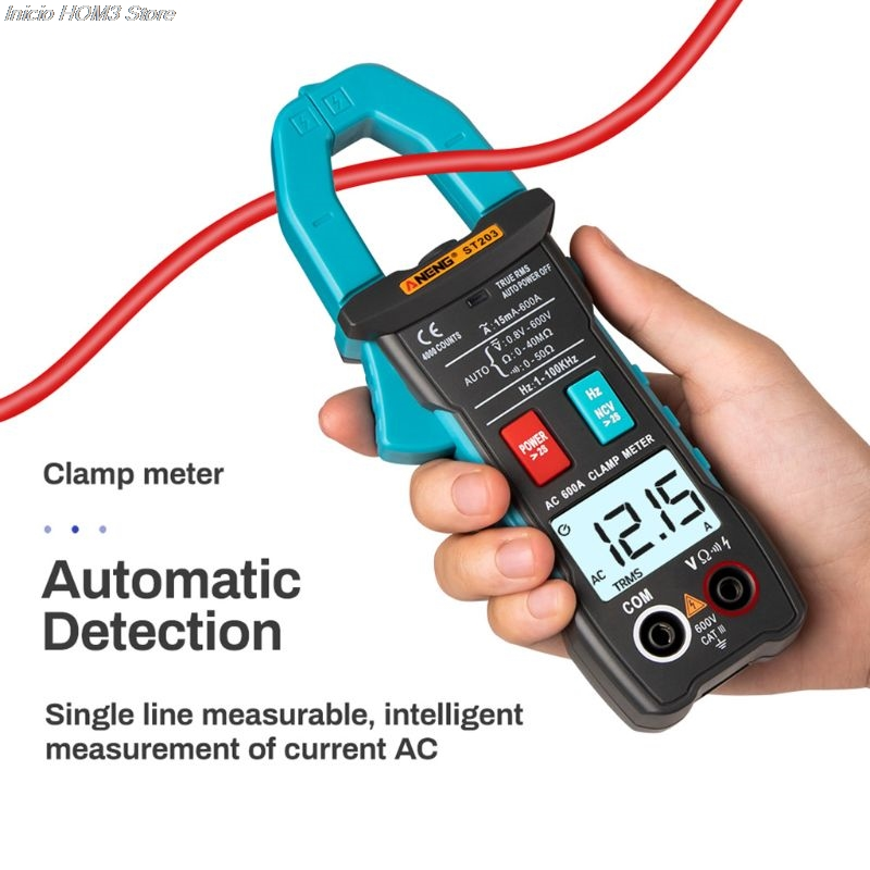 ST203 Digital Clamp Multimeter Ampere 4000 Counts True RMS Amp Current Clamp Meter Voltmeter 600V 600A AC/DC Automatic Range