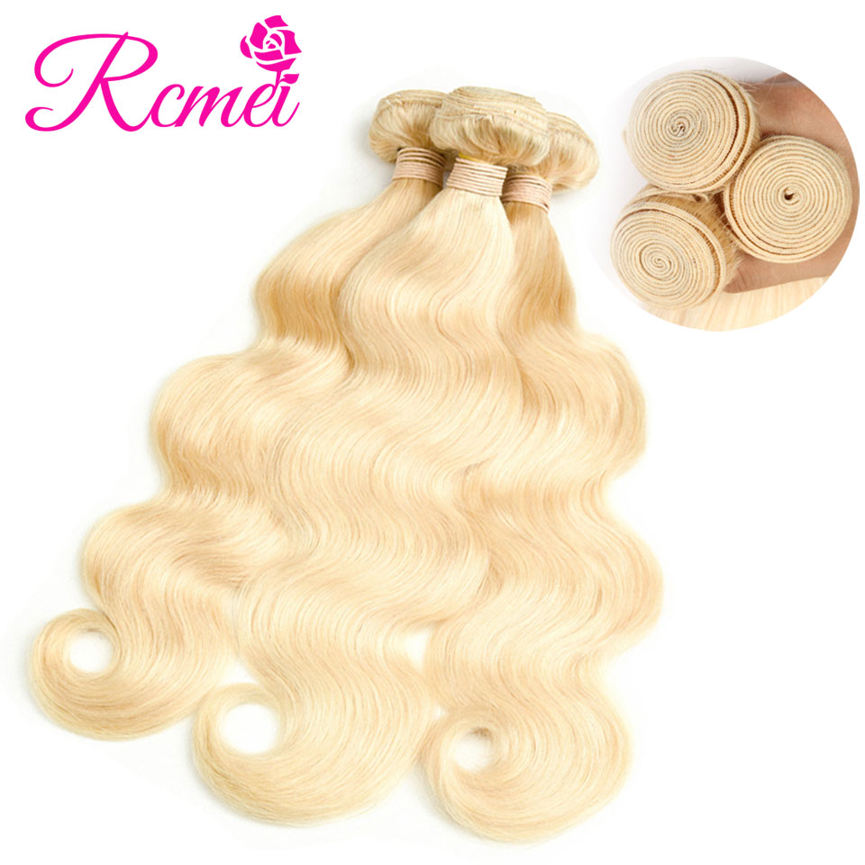 Long Huamn Hair Bundles 613 Blonde Bundles Brazilian Body Wave Hair Weaving 3/4 Bundle Deal 10-30 Inch Pre-Colored Bundle Pack