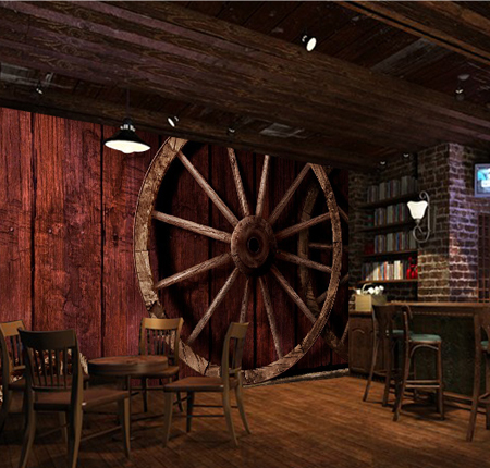 Free shippping Nostalgic vintage wood grain wheel hemp rope mural vintage 3D wallpaper meters junran america style vintage nostalgic wood grain photo pictures wallpaper in special words digit wallpaper for living room