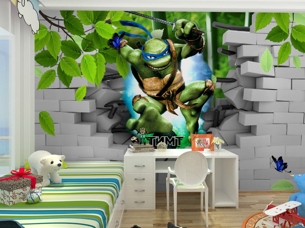 Aliexpress.com : Buy Free shipping Eco friendy 3d huge mural Ninja ...