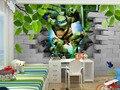 Frete grátis-Eco friendy 3d mural enorme Ninja Tartarugas próximos murais de papel de parede de fundo para sala e quarto dos miúdos