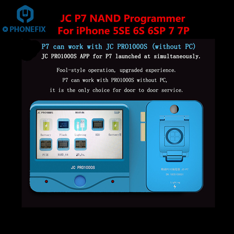 PHONEFIX JC P7 NAND Read Write Error Repair Tool JC Pro1000S PCIE NAND Test Programmer For iPhone 5SE 6S 6SP 7 7P iPad ProPHONEFIX JC P7 NAND Read Write Error Repair Tool JC Pro1000S PCIE NAND Test Programmer For iPhone 5SE 6S 6SP 7 7P iPad Pro