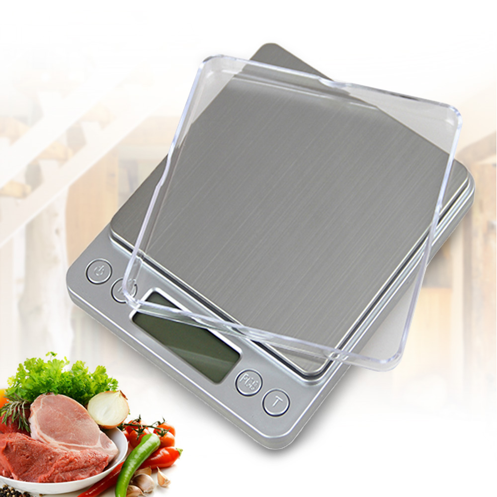 500g x 0.01g Portátil Mini balança Eletrônica Escalas de Alimentos Caso Bolso Jóias Peso Balanca Cozinha Postal Balança Digital Com 2 bandeja