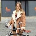 Veri Gude Women Suede Faux Leather Coat Winter Jacket Flat Fleece Collar Faux Fur Coat