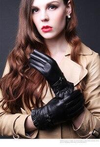 Image 3 - Женские кожаные перчатки TBWA593, толстые теплые перчатки из 100% овечьей кожи для вождения и верховой езды, Осень зима 2019