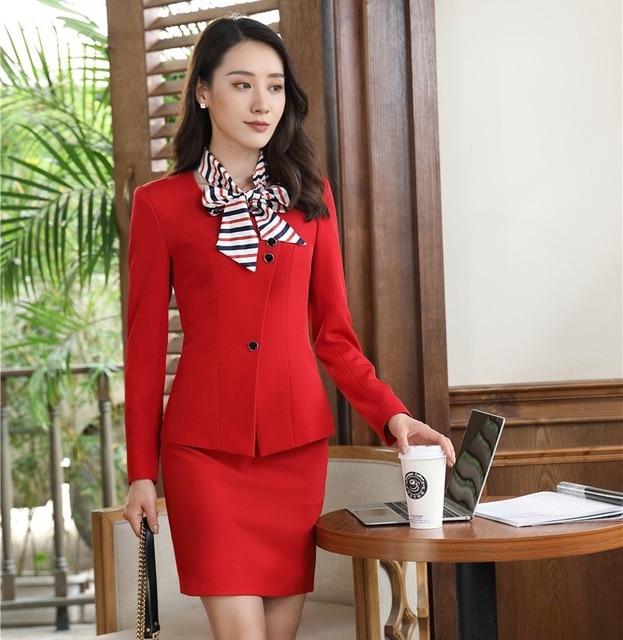 c8cda972338f0a Formal Weiblich Blazer Frauen Elegante Rock Anzüge Rote Jacke mit Schal Damen  Büro Uniform Styles OL