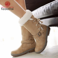 цена на Coolcept Plus Size 34-46 Fashion Cotton Boots Winter Women Mid Calf Boots With Fur Leather Lace Up Ladies Shoes Snow Boots